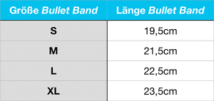 Bullet Band Groessentabelle
