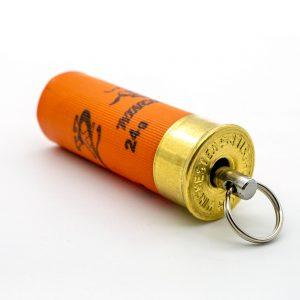 Kaliber-12-Schrot-Patrone-Schluesselanhaenger-orange