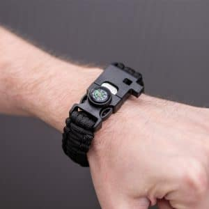 Survivalarmband-schwarz-Kompass-Feuerstarter