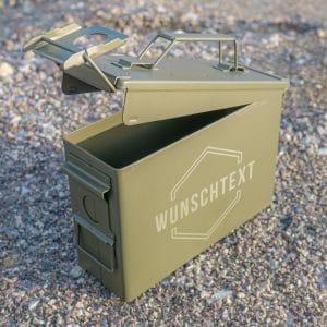 Munitionskiste mit Gravur neu Name im Sechseck