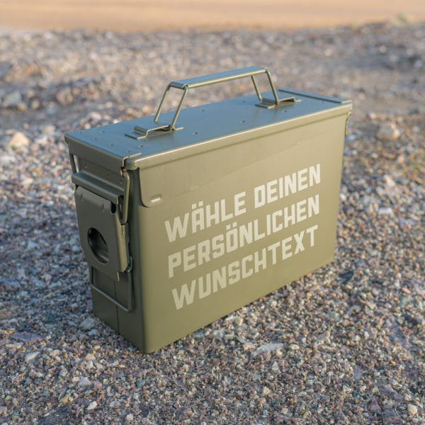 Munitionskiste neu mit Text Gravur