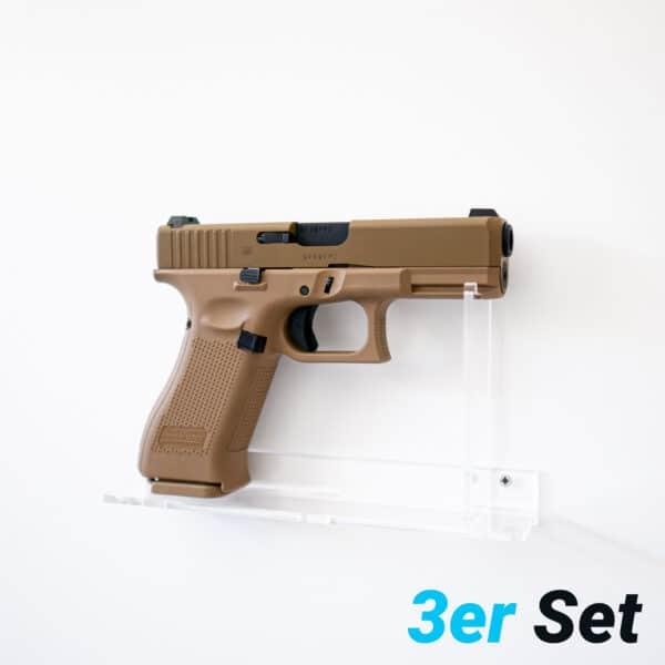 Pistolen-Wandhalterung-Plexiglas-Shop-3er-Set